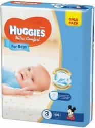 Scutece Huggies Ultra Confort Giga Pack (3) , Boy, 5-9 kg, 94 buc Scutece si servetele
