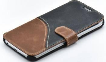 Husa Book Tellur Samsung Galaxy S6 Edge Piele Negru & Maro Huse Telefoane