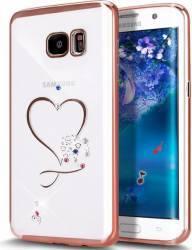 Skin OEM Samsung Galaxy S6 Edge G925F electroplating cu cristale model inima Rose Huse Telefoane