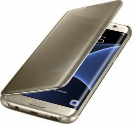 Husa Clear View Samsung Galaxy S7 Edge G935 Gold Huse Telefoane