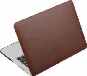 Husa din piele ecologica pentru MacBook Air 13-inch A1466 - A1369 Maro Genti Laptop