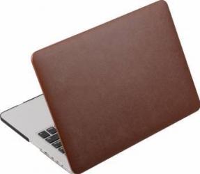 Husa din piele ecologica Krasscom pentru MacBook New Pro 15.4 inch 2016 2017 A1707 maro Genti Laptop