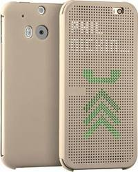 Husa Flip Dot View OEM HTC ONE M8 Auriu