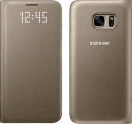 Husa LED View Samsung Galaxy S7 G930 Gold