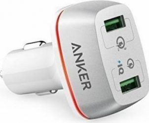 Incarcator Auto Anker 42W PowerDrive+ 2 Qualcomm Quick Charge 3.0 alb Incarcator