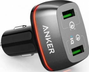 Incarcator Auto Anker 42W PowerDrive+ 2 Qualcomm Quick Charge 3.0 negru Incarcator
