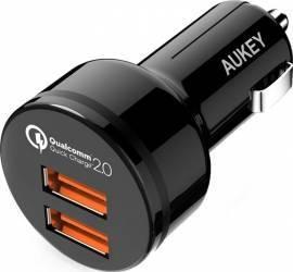 Incarcator auto Aukey CC-T6 2 USB Quick Charge 2.0 Negru Incarcatoare Auto