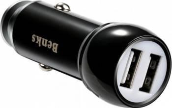 Incarcator Auto Benks Qualcomm Quick Charge 3.0 Dual Metal Negru Incarcatoare Auto