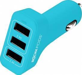 Incarcator Auto Boompods 4.8A Trio Power 3xUSB led indicator incarcare rapida Albastru Incarcatoare Auto