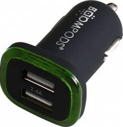Incarcator Auto Boompods Mini 2.4A Dual USB led indicator incarcare rapida Negru Incarcatoare Auto