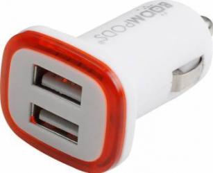 Incarcator Auto Boompods Mini 2.4A Dual USB led indicator incarcare rapida Alb Incarcatoare Auto