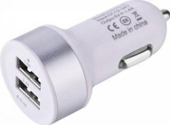 Incarcator Auto Devia Smart Dual 2 x USB 1A/2.4A Alb Incarcatoare Auto