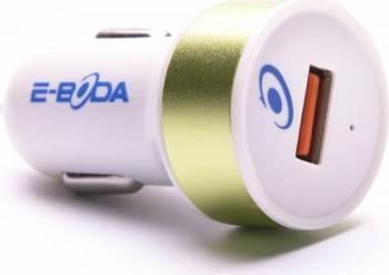 Incarcator Auto E-Boda USB 5V 2.4A QUICK CHARGE Verde Incarcatoare Auto