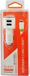 Incarcator auto Ldnio 2 x USB + Cablu Lightning Incarcatoare Auto