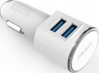 Incarcator auto Ldnio Dual USB + Cablu microUSB