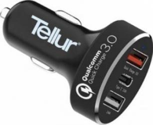 Incarcator Auto Tellur Type C Quick Charge 3.0 Negru Incarcatoare Auto