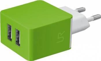 Incarcator auto Trust 5W 2 x USB Verde Incarcatoare Telefoane