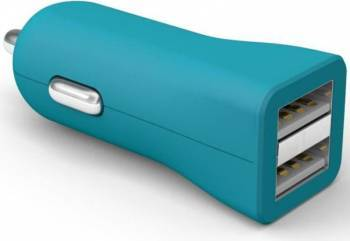 Incarcator auto universal Kit Fresh Dual USB Albastru Incarcatoare Auto