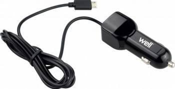Incarcator Auto Well USB bricheta cu cablu microUSB 2 iesiri 2.1A Negru Incarcatoare Auto