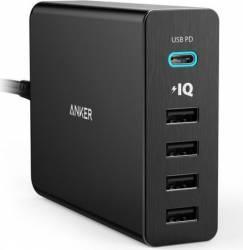 Incarcator de Retea Anker PowerPort+ 5 60W 1xUSB-C 4xUSB 3.0 cu Power Delivery si PowerIQ Negru Incarcator
