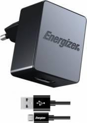 Incarcator De Retea Energizer QC 2.0 1 x USB 2.4A + Cablu microUSB 1m Negru Incarcatoare Telefoane