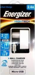 Incarcator De Retea Energizer 2 x USB 2.4A + Cablu microUSB 1m Alb Incarcatoare Telefoane