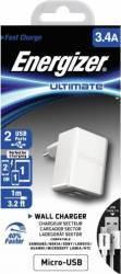 pret preturi Incarcator De Retea Energizer 2 x USB 3.4A + Cablu microUSB 1m Alb