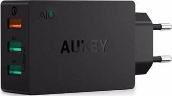 Incarcator rapid Aukey PA-T14 3 sloturi USB 3.0 Negru Incarcatoare Telefoane