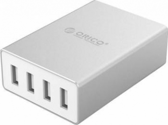 Incarcator Retea GSM Orico ASK-4U 25W Smart Aluminium USB Desktop Charger silver Incarcator