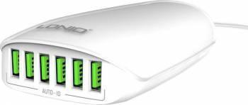 Incarcator retea Ldnio A6573 portabil cu 6 porturi USB 5V 5.4A Alb Incarcatoare Telefoane