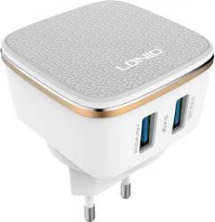 Incarcator retea Ldnio DL-AC66 portabil cu 2 porturi USB 2.4A Alb Incarcatoare Telefoane