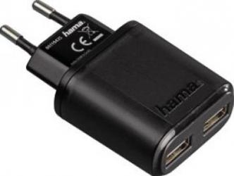 Incarcator Tableta USB Hama Auto-Detect Dual Charger Negru Incarcator