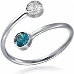 Inel Argint 925 Placat Cu Rodiu Cu Cristale Swarovski Dual Xirius 4 mm Blue Zircon Inele
