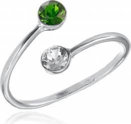 Inel Argint 925 Placat Cu Rodiu Cu Cristale Swarovski Dual Xirius 4 mm Emerald Inele