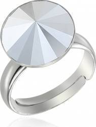 Inel Argint 925 placat cu rodiu cu cristale Swarovski Rivoli 12mm Light Chrome Reglabil Inele