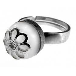 Inel argint reglabil cu perla de cultura alba cu floare GlamBazaar Inele