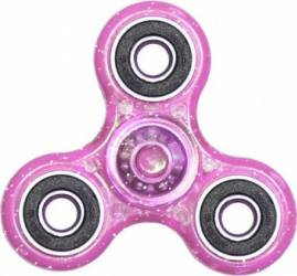 Jucarie Antistres HIT Fidget Spinner cu Sclipici Pink Jucarii antistres
