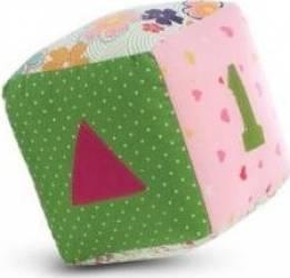Jucarie Textila Pink Cube 10 x 10 cm