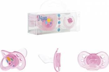 Kiokids - Set 2 suzete silicon ortodontice roz size 2 6 luni + Suzete si accesorii