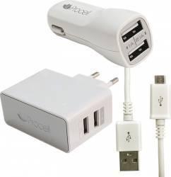 Kit Incarcare Procell 3 in 1 micro USB 2.1 A Alb auto retea si cablu