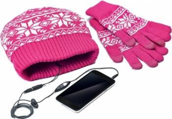 Kit Manusi Caciula Celly Touchscreen Roz