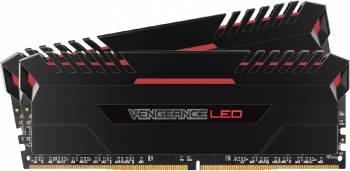 Kit Memorie Corsair Vengeance 2x8GB DDR4 2666MHz CL16 Red LED Memorii