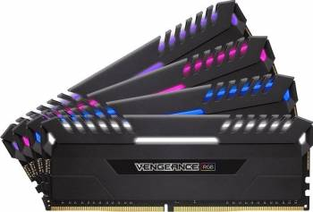 Kit Memorie Corsair Vengeance RGB LED 4x8GB DDR4 3000MHz C15 Quad Channel Memorii