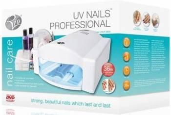 Kit profesional aplicare unghii false cu aparat uv incorporat Rio UVLP4