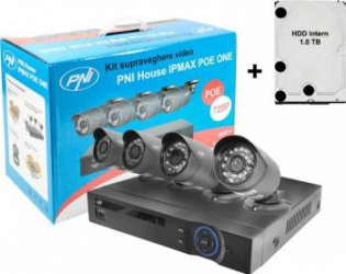 Kit supraveghere video PNI House IPMAX POE ONE 720P cu HDD 1TB inclus
