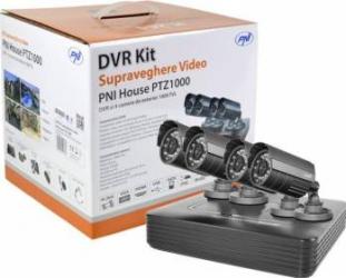 Kit supraveghere video PNI House PTZ1000 cu HDD 1Tb inclus - DVR si 4 camere de exterior Camere de Supraveghere