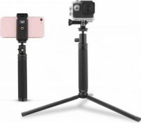Kit universal de calatorie TnB Capture d'images Negru Gimbal, Selfie Stick si lentile telefon