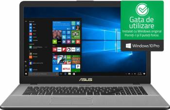 Laptop Asus Vivobook Pro 17 Intel Core Kaby Lake i7-7500U 1TB HDD+128GB 8GB nVidia MX150 4GB FullHD Dark Grey Laptop laptopuri