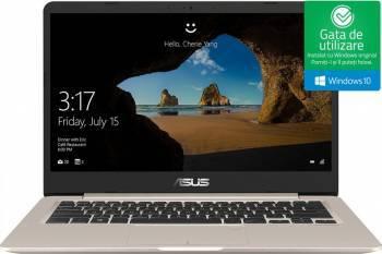 Laptop Asus VivoBook S406UA Intel Core Kaby Lake R (8th Gen) i7-8550U 256GB 8GB Win10 FullHD Gold Laptop laptopuri