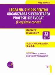 Legea nr.51 din 1995 pentru organizarea si exercitarea profesiei de avocat act. 22 iunie 2017